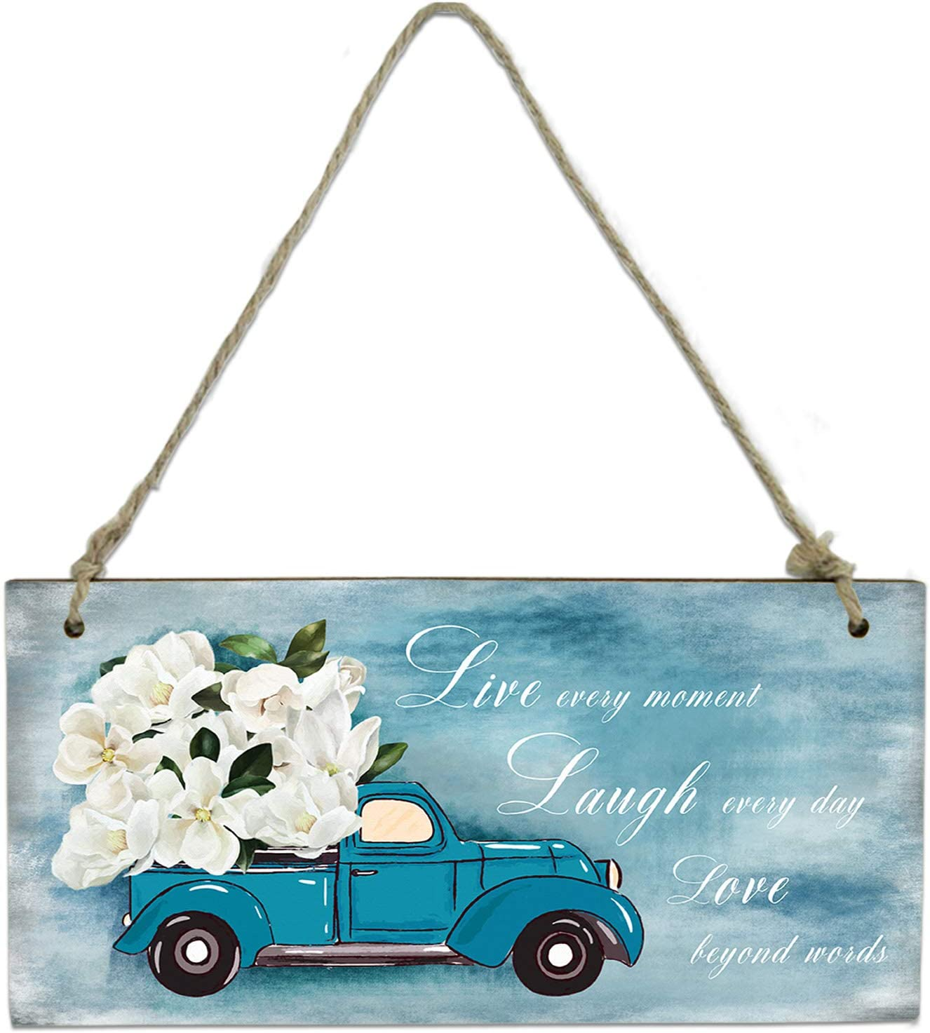 EZON-CH Welcome Sign Wood Wall Hanging Plaque Sign Home Decoration Blue Truck Carrying Magnolia Flowers Quotes Live Laugh Love Printed Wall Pediments for Wall Decor 8