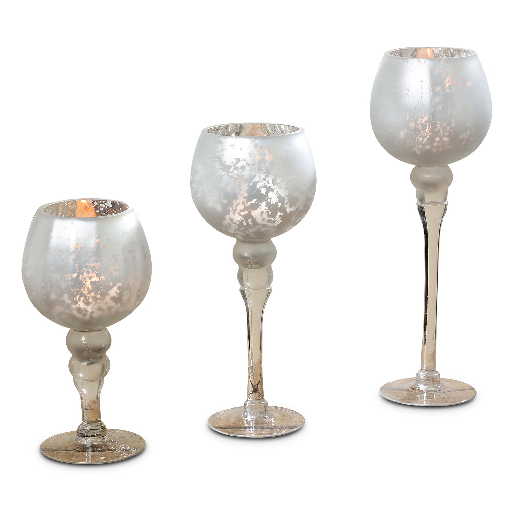 The Spectacular Cape Cod Long Stem Candle Holders, Set of 3, Silver Mercury Glass, Rippled, Proportioned at 11 3/4, 9 3/4, and 7 Inches Tall, For Tealight or Votive or Ball Candles, By WHW by Whole House Worlds