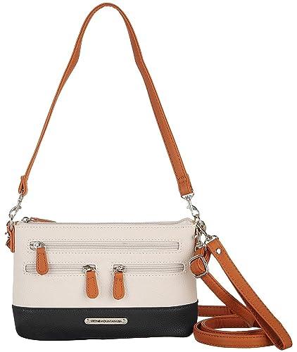 53e5b0199dbbb7 Stone Mountain Plugged In Tri-Tone Crossbody Handbag One Size Bone white/ black/tan: Handbags: Amazon.com