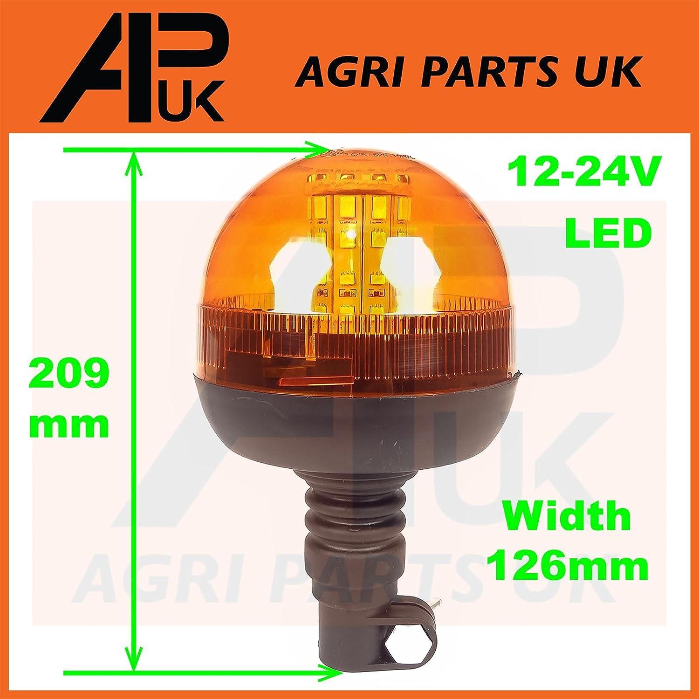 LED Rotating Flashing Amber Beacon Flexible DIN Pole Tractor Warning Light 12-24 Agri Parts UK Ltd