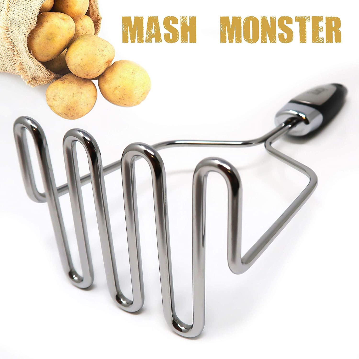 Potato Masher Stainless Steel - Premium Masher Hand Tool and Potato Smasher Metal Wire Utensil for Best Mash for Bean, Avocado, Egg, Mini Mashed Potatoe, Banana & Other Food by Zulay Kitchen