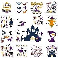 12 PCS Halloween Stencils Templates Ghost Castle Bat Black Cat Pumpkin Template Large Reusable Plastic Stencils…