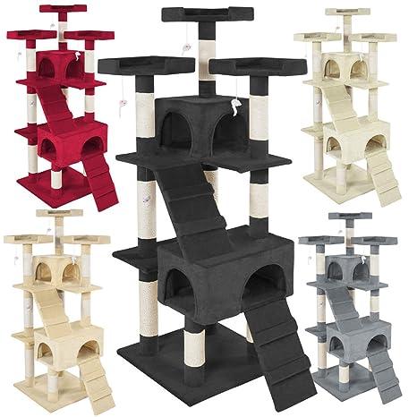 TecTake Rascador Árbol para gatos Sisal - disponible en diferentes colores - (Negro | No