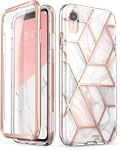 i-Blason Cosmo Full-Body Bumper Case with Built-in Screen Protector for iPhone XR 2018 Release, Pink Marble, 6.1""