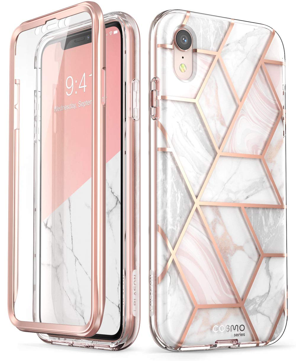 i-Blason Cosmo Full-Body Bumper Case for iPhone XR 2018 Release, Pink Marble, 6.1'' by i-Blason
