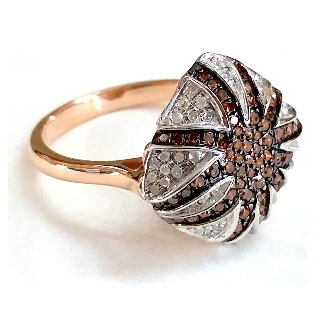 Goldenstar 0.57Ct Cognac /& White Diamond Ring 925 Sterling Silver Ring