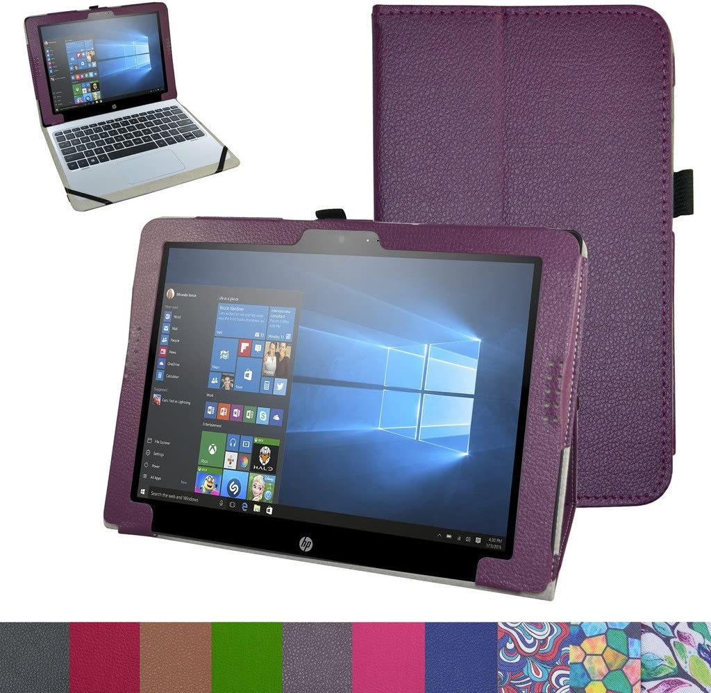 "HP Pavilion X2 12 Case,Mama Mouth PU Leather Folio 2-Folding Stand Cover for 12"" HP Pavilion x2 12 12-b020nr 12-b010nr Windows 10 Tablet 2016,Purple"