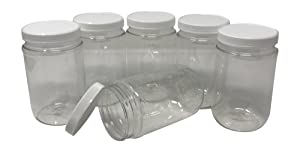 CSBD 16 Oz Clear Plastic Mason Jars With Ribbed Liner Screw On Lids, Wide Mouth, ECO, BPA Free, PET Plastic, Made In USA, Bulk Storage Containers, 6 Pack (16 Ounces)