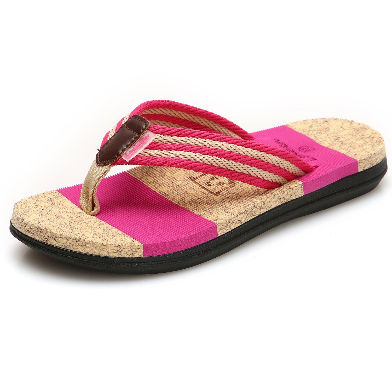 GESIMEI Sommer Strand Gestreifter Gurtband Zehentrenner Badeschuhe Bequeme Flip Flops Urlaub Flach Sandalen Damen  40 EU|Rose Rot