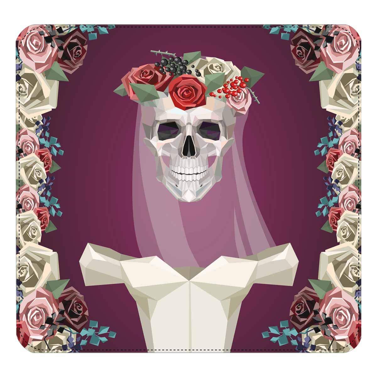 InterestPrint Womens Skeleton of Bride with White Dress Flower Wreath Clutch Purse Card Holder Organizer Ladies Purse