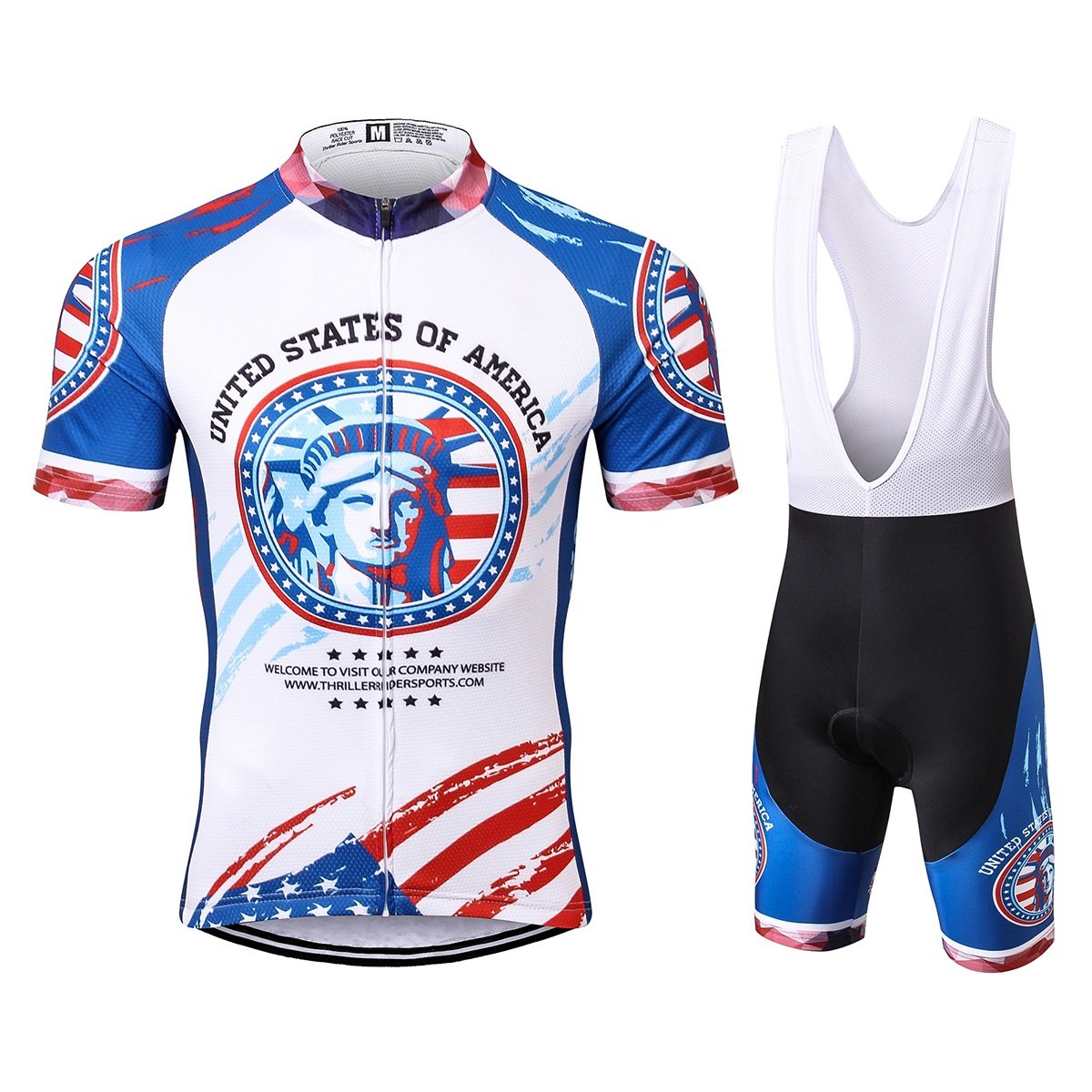 Thriller Rider Sports® Uomo USA Flag Sport e Tempo Libero Abbigliamento Ciclismo Magliette Manica Corta Sports Thriller Rider