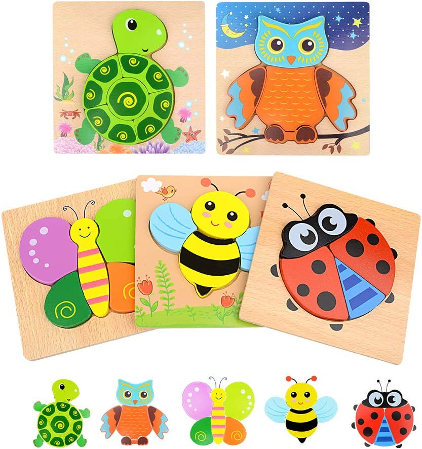 Bright Vibrant Color ,Educational Toys for Kids with Drawstring Bag(Vehicle) Mosthink Wooden Jigsaw Puzzles for Toddlers 5 Pack Vehicle Puzzles for 1 2 3 Years Old Boys and Girls