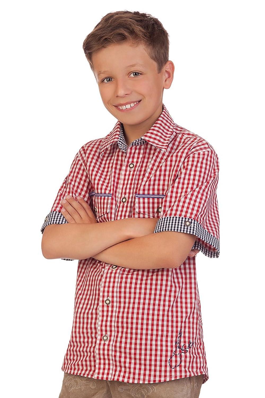 Trachten Kinderhemd mit 1/2 Arm - Ki-H048 - LUIS - rot, türkis