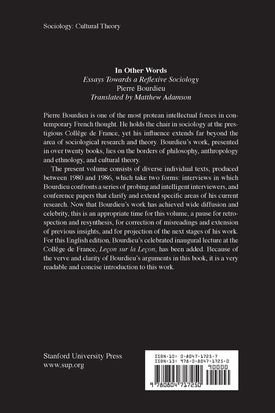 71xO5OkN3YL in other words essays toward a reflexive sociology pierre,Invitation To Reflexive Sociology