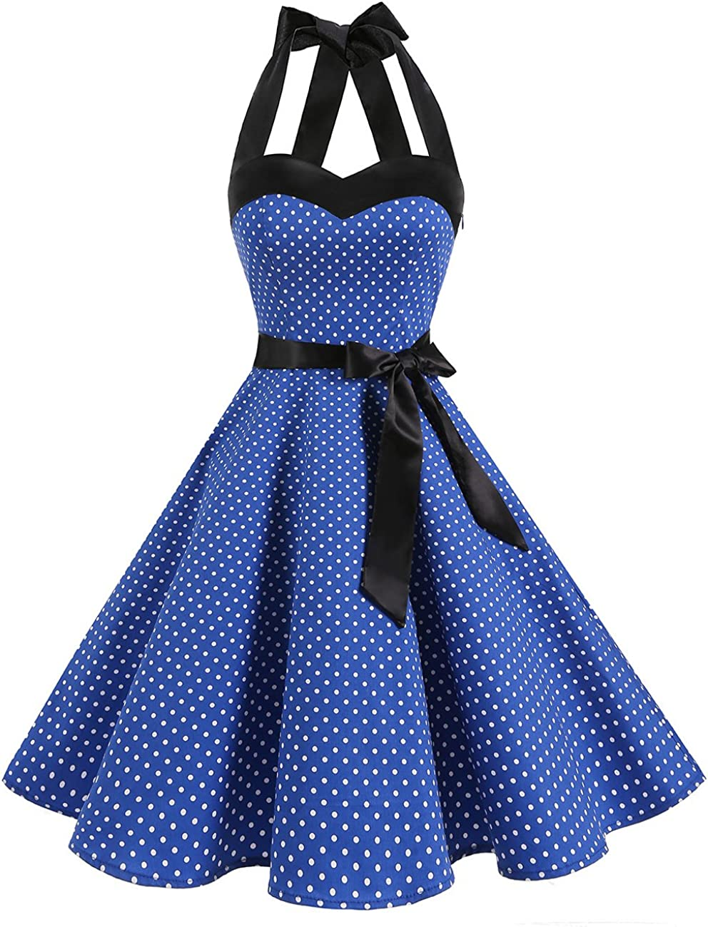 TALLA M. DRESSTELLS® Halter 50s Rockabilly Polka Dots Audrey Dress Retro Cocktail Dress Royal Blue Small White Dot M