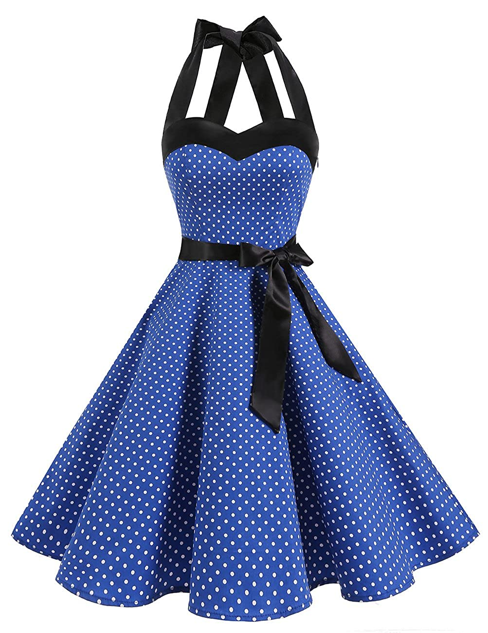TALLA L. Dresstells® Halter 50s Rockabilly Polka Dots Audrey Dress Retro Cocktail Dress Royal Blue Small White Dot L