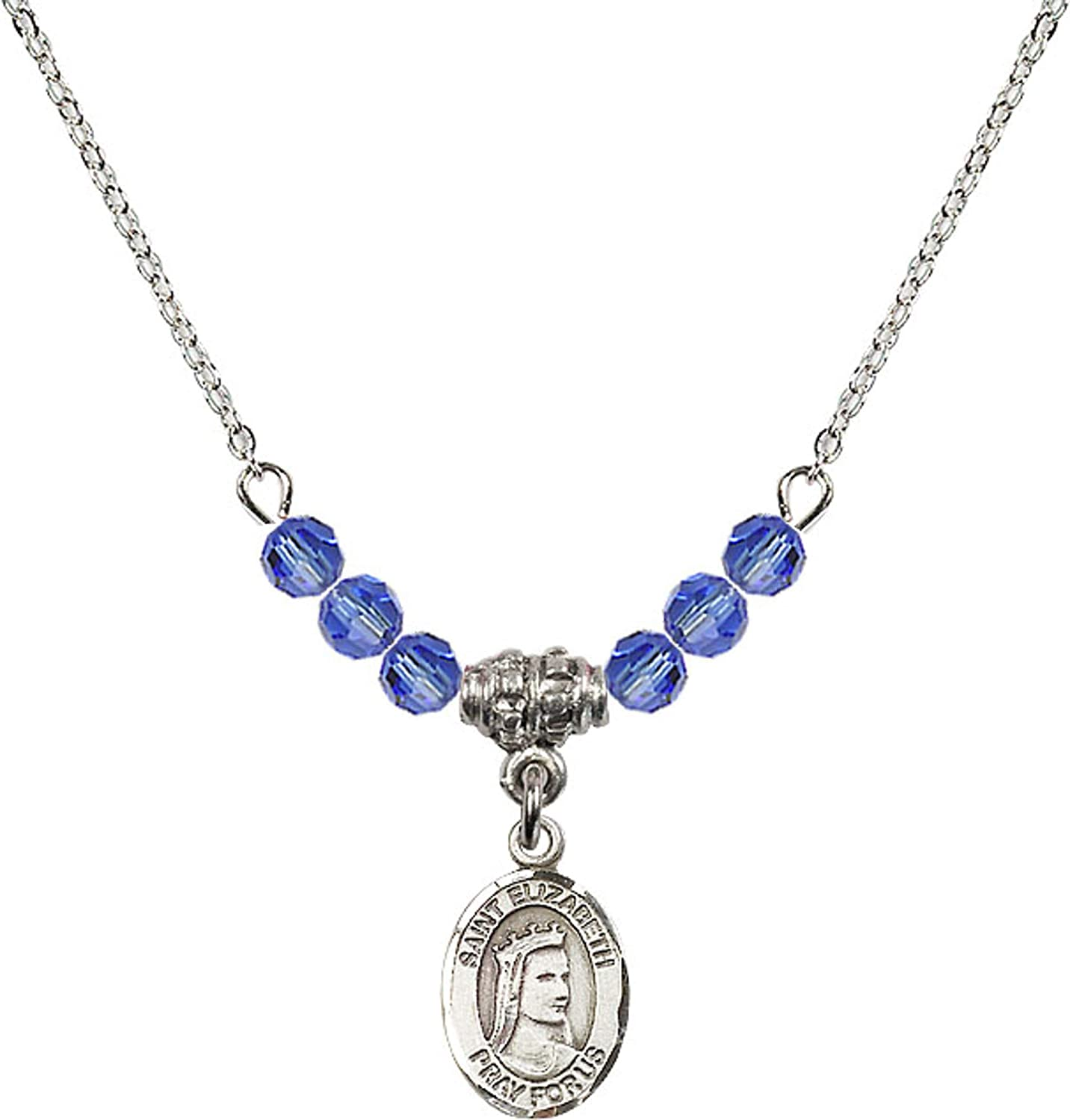 Bonyak Jewelry 18 Inch Rhodium Plated Necklace w// 4mm Blue September Birth Month Stone Beads and Saint Elizabeth of Hungary Charm