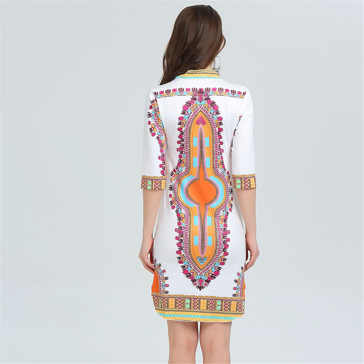 afea7f8a56e nboba 3XL Plus Size Wholesale African Clothes Dress for Women Casual Summer  Hippie Print Fabric Femme Boho Robe Femme at Amazon Women s Clothing store