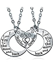 I Love You to the Moon and Back Mother Daughter Moon Love Heart Necklace Pendant 2PCMothers Day Gifts (Mom daughter necklace)