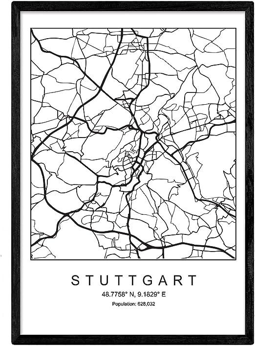 Nacnic Lámina Mapa de la Ciudad Stuttgart Estilo nordico en Blanco ...