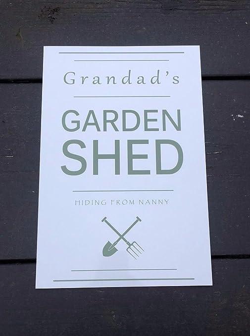 Shabby Chic personalizable Grandad jardín cobertizo o taller garaje grande de 30 x 20 cm rústico