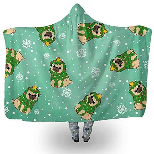 40e9a52ab1b Christmas Dog Hooded Blanket Christmas Pug Tree Costume Puppy Pattern Face  Sherpa Fleece Blanket For Kids And Adults (45   x 60     80   x 60  )