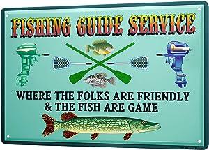 LEotiE SINCE 2004 Tin Sign Metal Plate Decorative Sign Home Decor Plaques 30 x 40 cm Pisces Angel Fishing Fish Fisherman's House Vintage