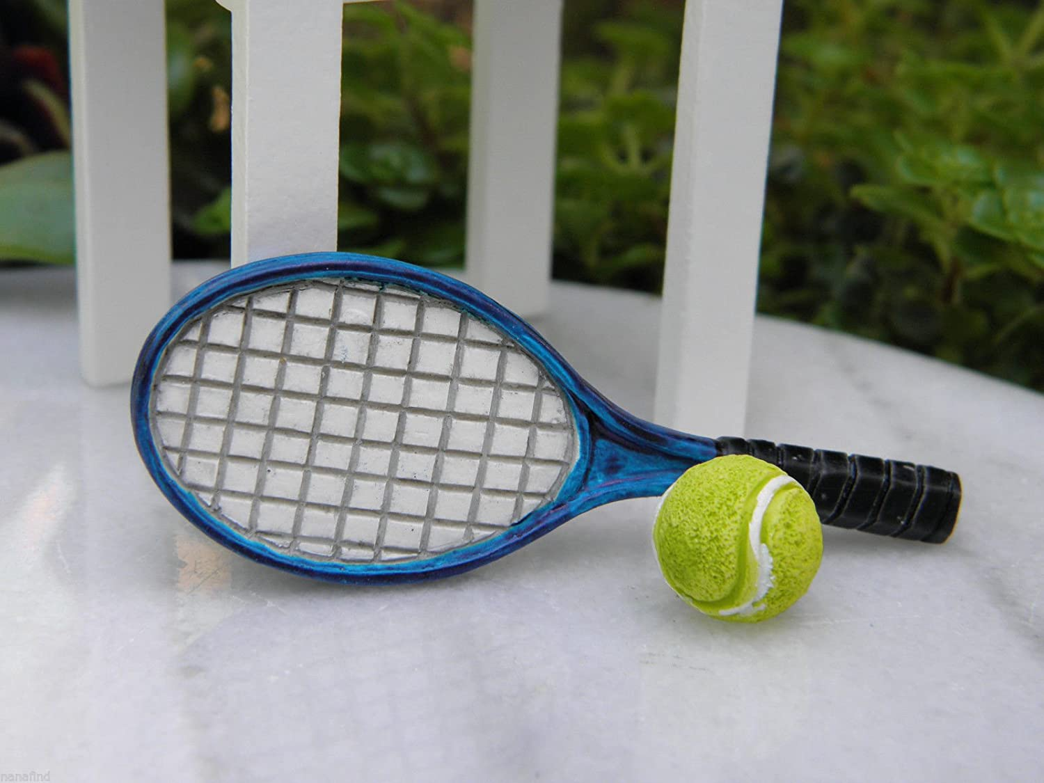 Miniature Dollhouse Fairy Garden Accessories Tennis Racket & Ball