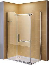 i-flair Dusche, Eckdusche, Duschkabine aus ESG Sicherheitsglas #8020-3 GROESSEN (100x120 cm ohne Duschwanne)