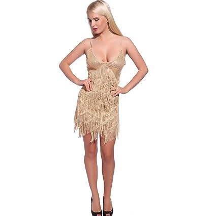 Maboobie - Disfraz de charlestón flecos lentejuela Vestido Disfraces de los años 20 1920s para Fiesta Boda Bailes (Talla L, Dorado): Amazon.es: Hogar