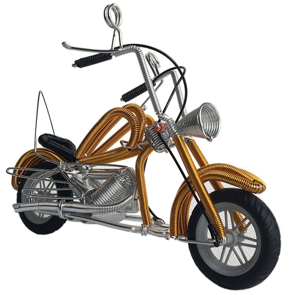 amperer Collectibleアート彫刻ハンドメイドメタルオートバイトラクターモデルクリエイティブオフィスデスクトップアクセサリー装飾のオートバイLovesアートワーク B07CPM7YJX C1 Gold C1 Gold