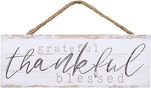 P. Graham Dunn Grateful Thankful Blessed Whitewash 10 x 3.5 Inch Pine Wood Slat Hanging Wall Sign