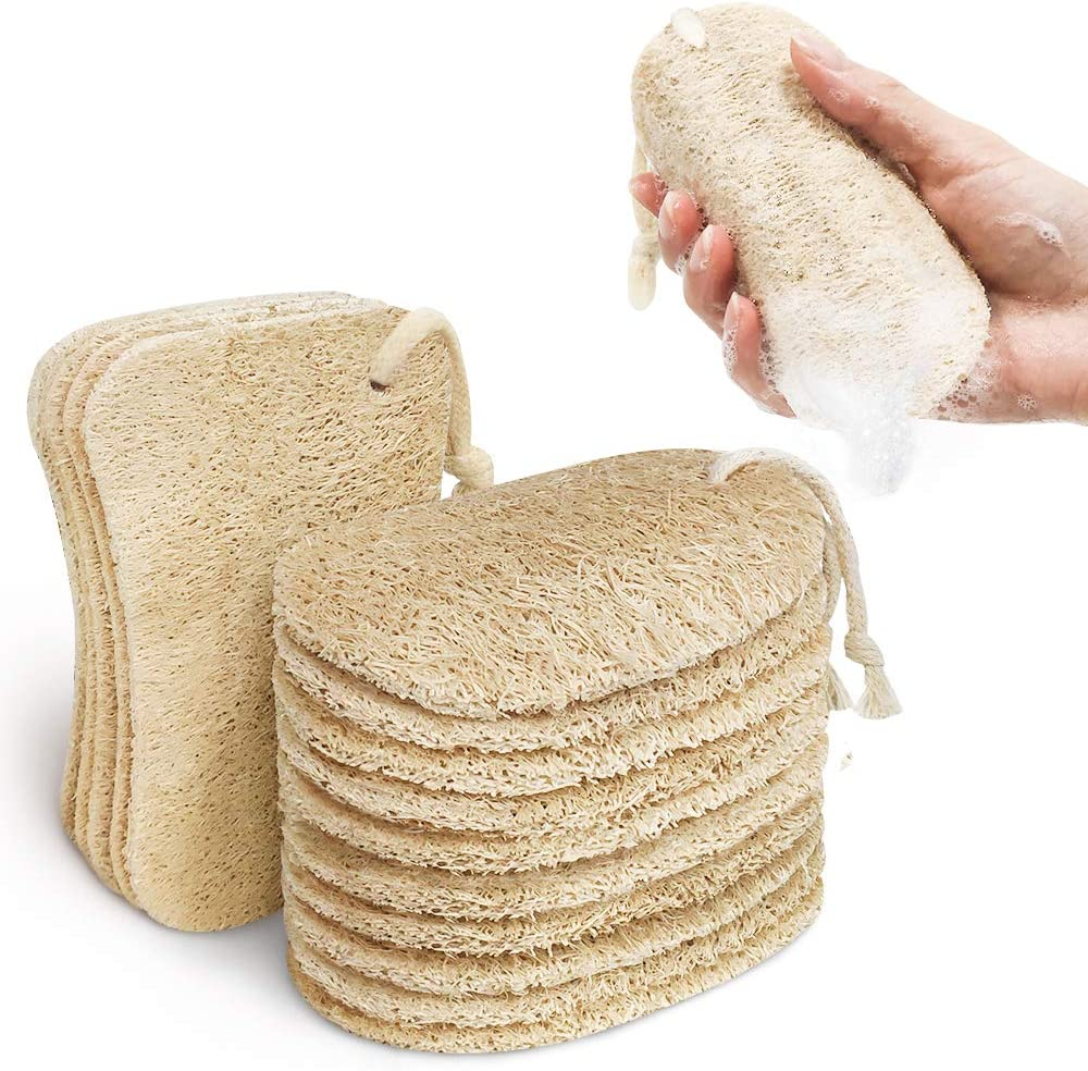 Kitsure Sponges for Kitchen, 15 Pcs Dish Sponge with 2 Designs for Cleaning, Loofah Sponges Efficiently Remove Oil Stain, Natural Sponge 100% Plant-Based Fibers, Biodegradable and Zero Waste