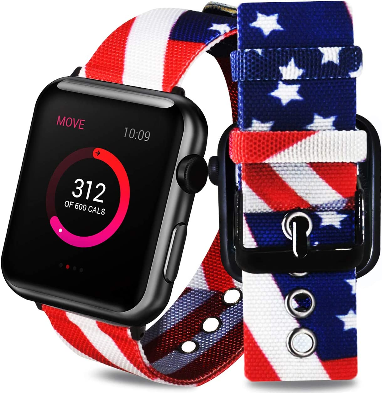 ONELANKS Comfortable Nylon Straps for Apple Watch American Flag Wristband Replacement Band Compatible for iWatch Series 5/4 (44mm) Series 3/2/1 (42mm)