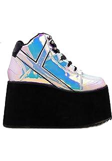 587783be6e15 Y.R.U. YRU Qozmo Hi 2 Atlantis Black   Holographic Platform Sneakers