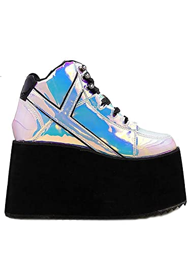 9a44271efa Y.R.U. YRU Qozmo Hi 2 Atlantis Black & Holographic Platform Sneakers