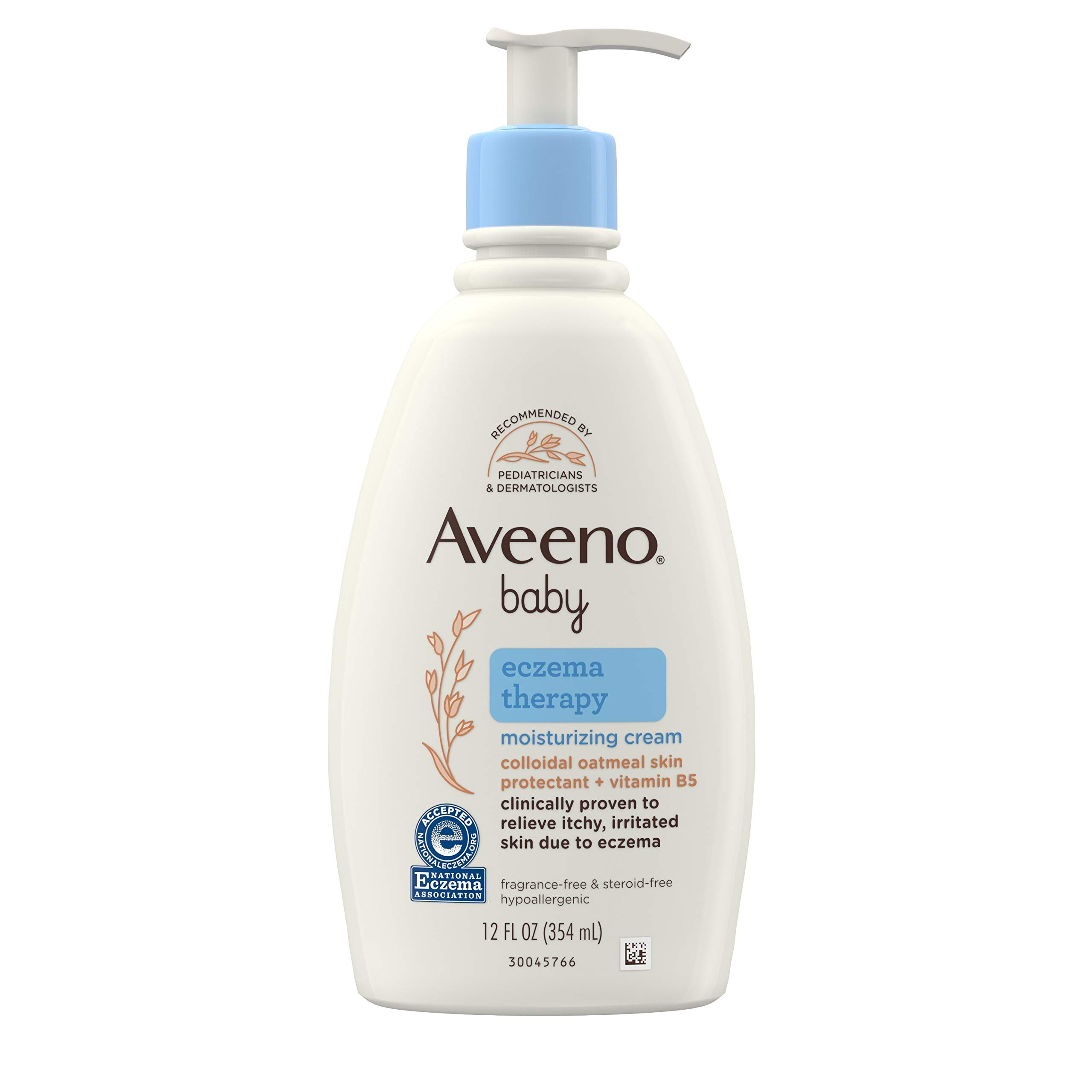 Aveeno Baby Eczema Therapy Moisturizing Cream, Natural Colloidal Oatmeal & Vitamin B5, Baby Eczema Cream for Dry, Itchy, Irritated Skin Due to Eczema, Paraben- & Steroid-Free, 12 fl. oz