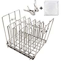 Sous Vide Rack Stainless Steel-Square 7.5 x 6.5 Inch- with Adjustable No-Float Top Bar, Collapsible Compact Design,Ensures even and Quick warming with Sous Vide Cooking,Fits Most 12qt Containers(Rack)