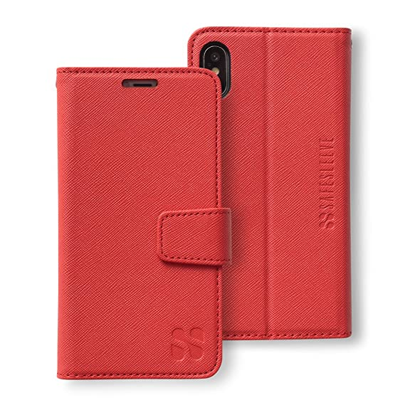 sale retailer 59f13 83a6f SafeSleeve Anti Radiation RFID iPhone Case: iPhone X and Xs ELF & RF  Blocking Identity Theft Protection Wallet (Red)