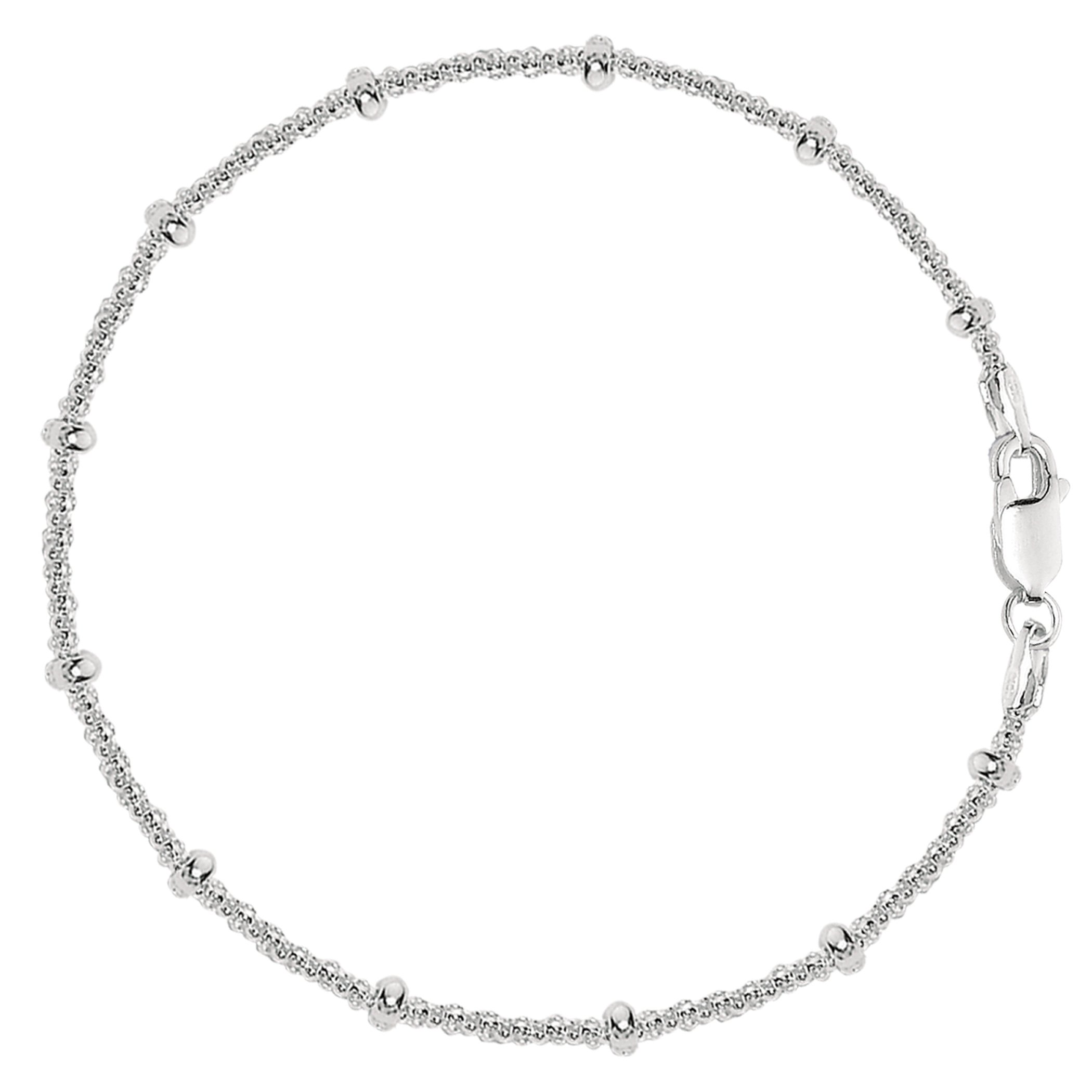 Saturn Style Chain Anklet In Sterling Silver, 10''