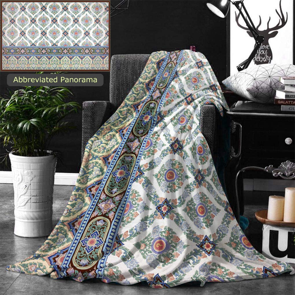 Ralahome Unique Custom Double Sides Print Flannel Blankets Traditional Thai Line Art Painting Super Soft Blanketry for Bed Couch, Twin Size 70 x 60 Inches