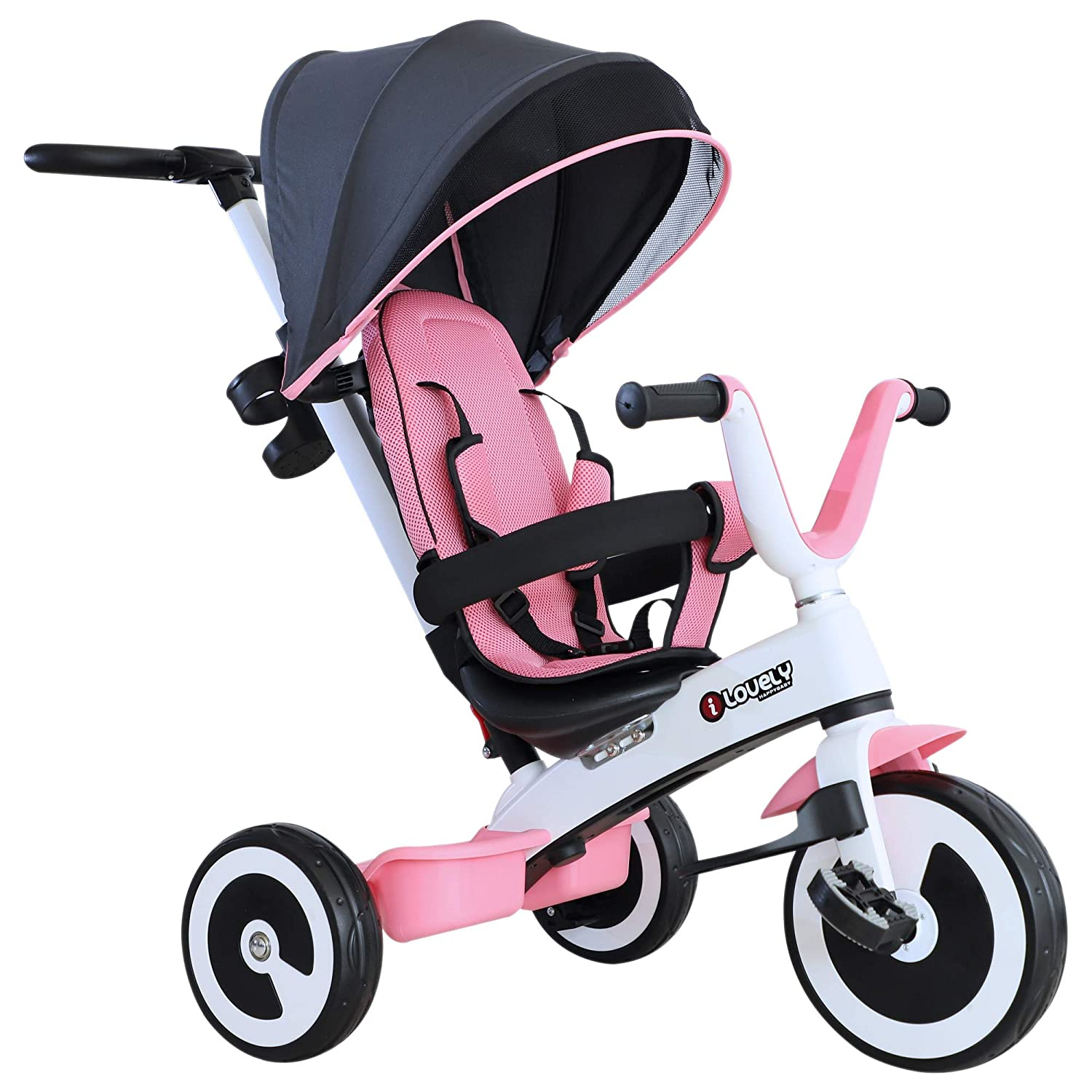 HOMCOM Baby Tricycle Children's 4 In 1 Trikes Kids Stroller W/ Canopy 3 Wheels Safety Guard Ride On Dark Grey Sold by MHSTAR UK370-062CG0331