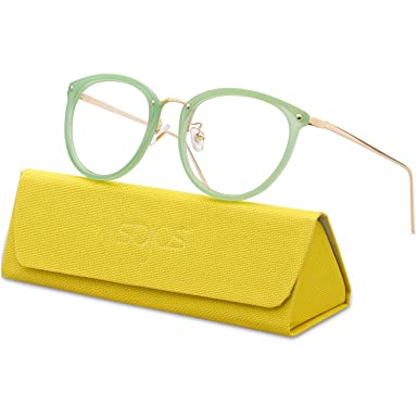c0f3b813455a SojoS Round Women Eyeglasses Fashion Eyewear Optical Frame Clear Glasses  SJ5969 With Green Frame Silver Temple  Amazon.co.uk  Clothing