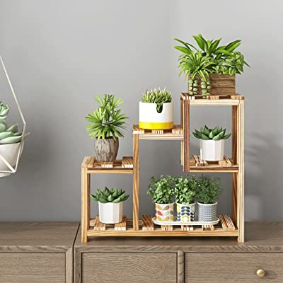 YJXJJD Living Room Bedroom Mini Plant Stand On The Table Wrought Iron Wooden Multi-Story Interior Can Choose White Brown 2KG (4.4Lbs) (Color : Brown): Garden & Outdoor