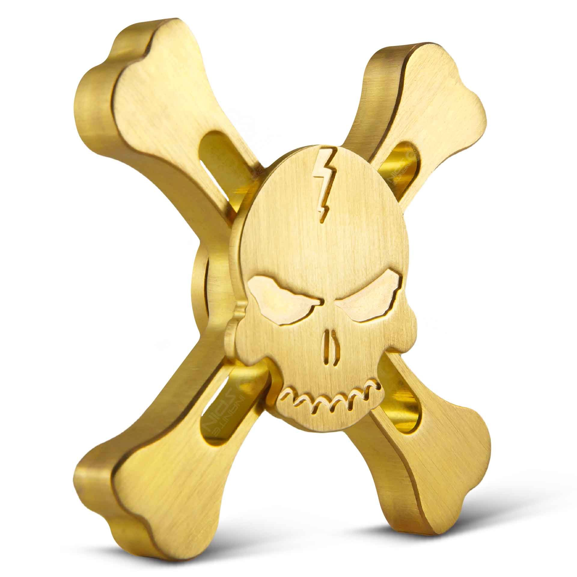 BONEYARD Fidget Spinner Toy By Infinite Spin - High Speed Hybrid Bearings - Perfect for ADHD, Increasing Focus, Concentration, And Quitting Bad Habits - 2 To 5 Minute Spin Times: EDC(Brass)