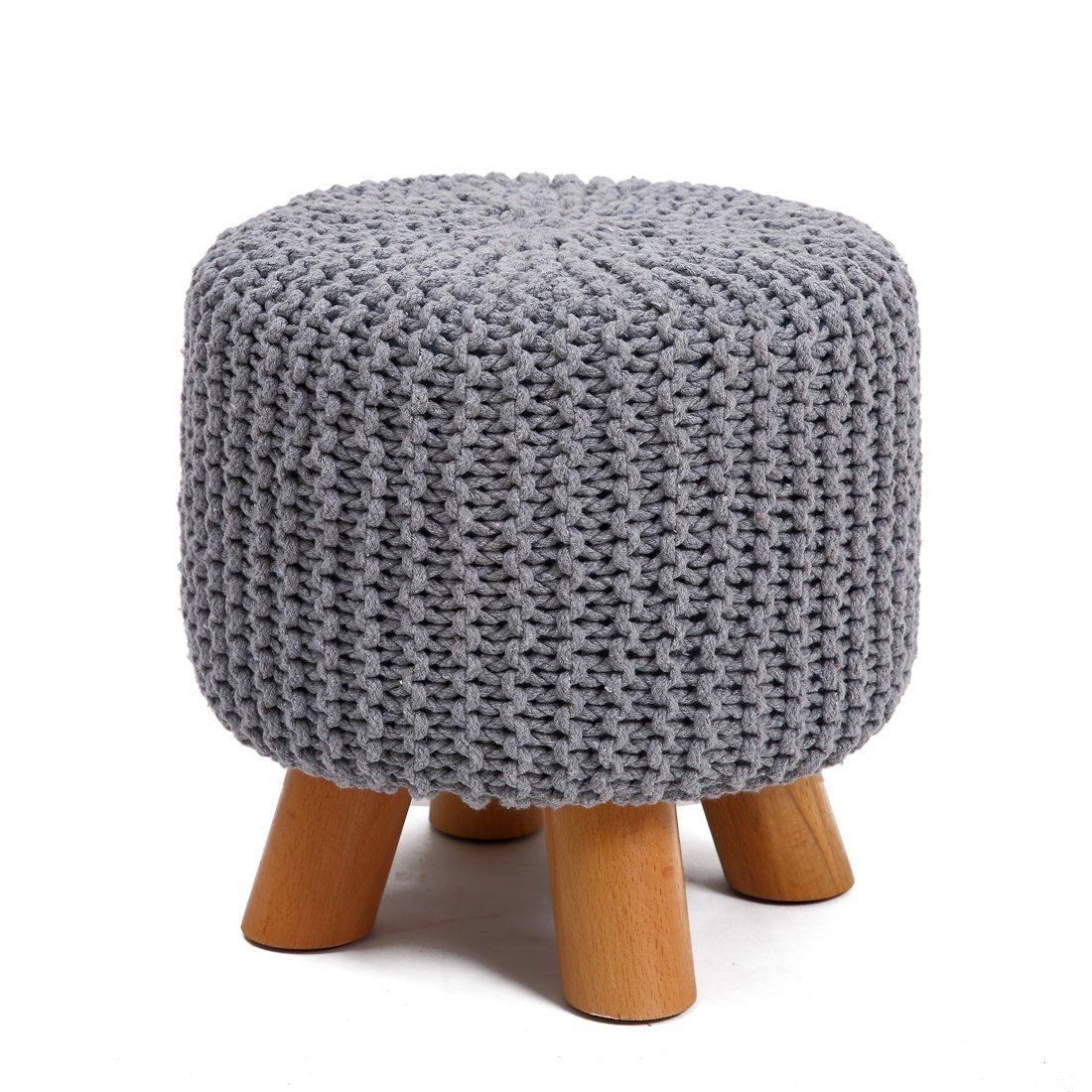 UUSSHOP Wood Support Upholstered Footrest Footstool Ottoman Pouffe Chair Stool Bench with 4 Beech Legs and Removable Handmade Knitted Woven Cotton Cover (Grey)