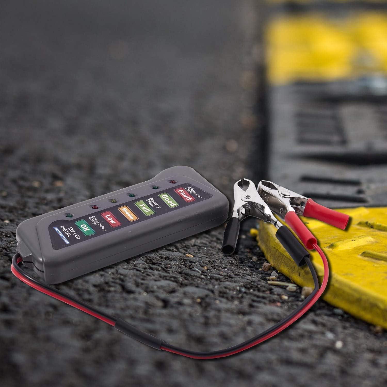 Verifica Condizioni Batteria e Ricarica alternatore indicatore LED Haude Tester per Batteria e alternatore per Auto a 12V