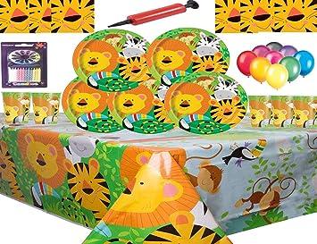 Jungle Animal Party Supplies Vajilla para 16 niños Fiesta de cumpleaños-16 Platos 16 Tazas 16 servilletas 1 Mantel con Globos Gratis Velas Bomba de ...