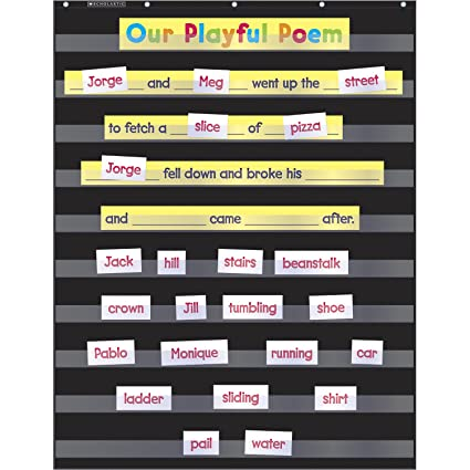 Amazon com scholastic durable classroom pocket chart black