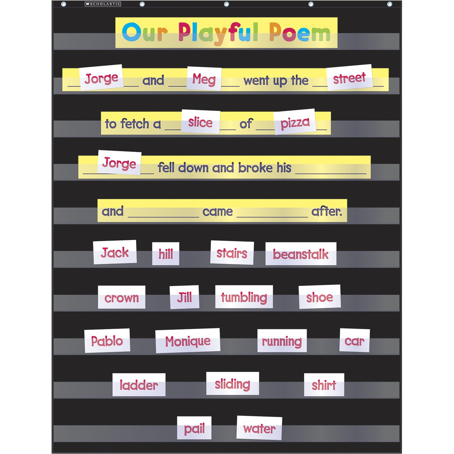 Scholastic Durable Classroom Pocket Chart, Black (573277) (Pocket Charts)